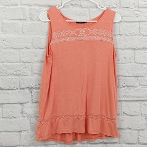 Max Jeans | Coral Sleeveless Slit Back Tank Top